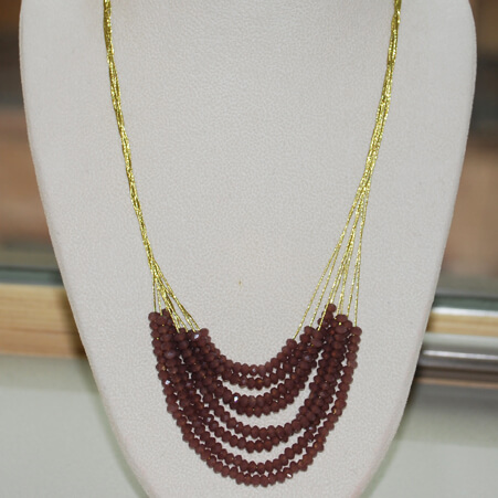 Silk Thread Necklace with Crystals and Gold from Specfic Skills Class