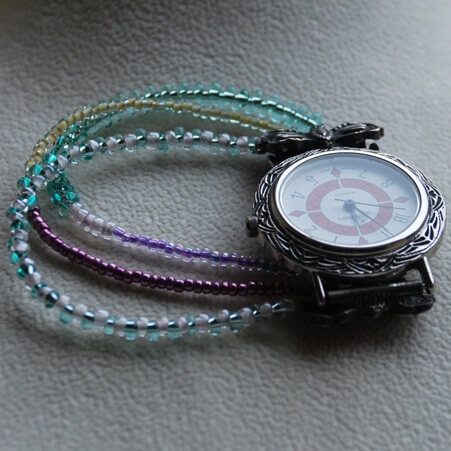 Watch Design with Seed Beads and Vintage Piece from Specific Skills Class