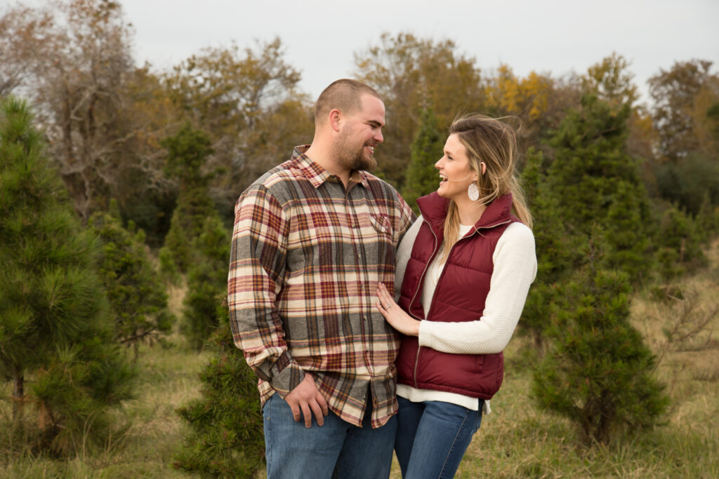 Couple wearing flannel and solid colors that coordinate with it