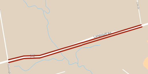 Map of Langstaff Road temporary lane restrictions between Huntington Rd and Line Dr