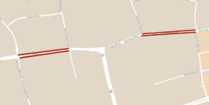 Map depicting two-part closure of Zenway Blvd between Rainbow Creek Dr and Vaughan Valley Blvd, and between New Enterprise Way and New Huntington Rd