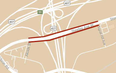 Map depicting location of temporary lane restrictions on Steeles Avenue West between Signal Hill Avenue and Alcide Street