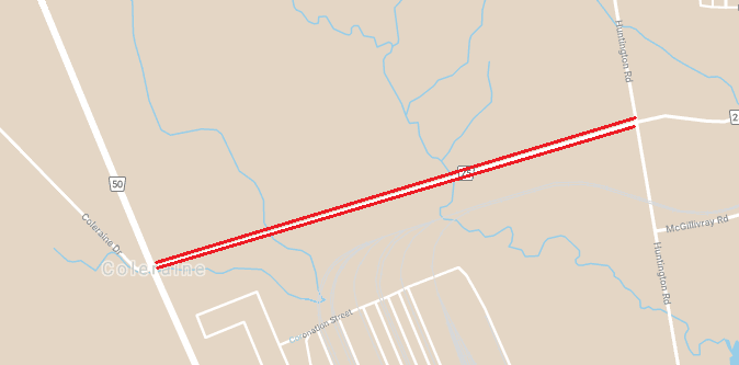 Map depicting location of temporary lane restrictions on Major Mackenzie Drive between Highway 50 and Huntington Road