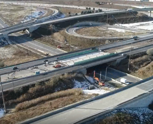 November 2018 aerial photo of Highway 407 and Steeles Avenue overpass