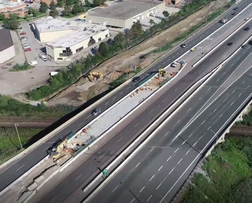 Aerial Photo of Highway 427 Northbound at CN Rail