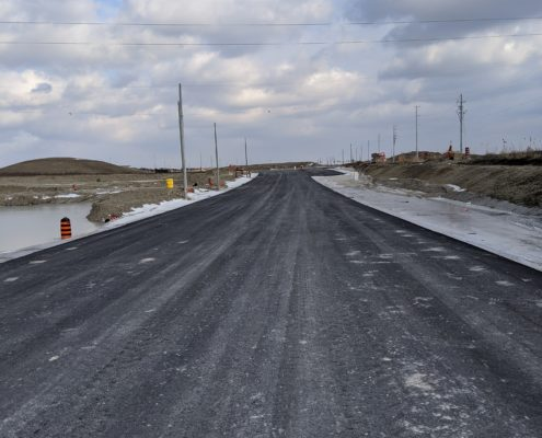 Photo of paved road surface on the new alignment of Major Mackenzie Drive