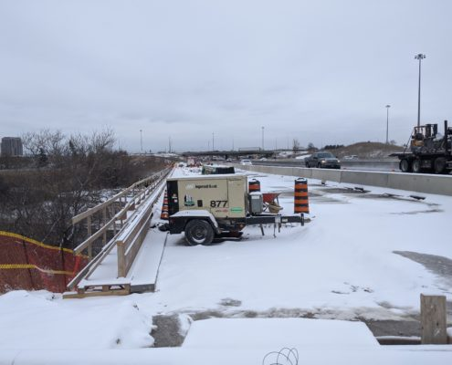 A photo of a generator on the widening section of Highway 427 north of Finch Avenue