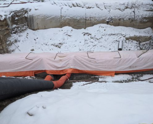 A photo of heating newly poured concrete footings at Langstaff Road