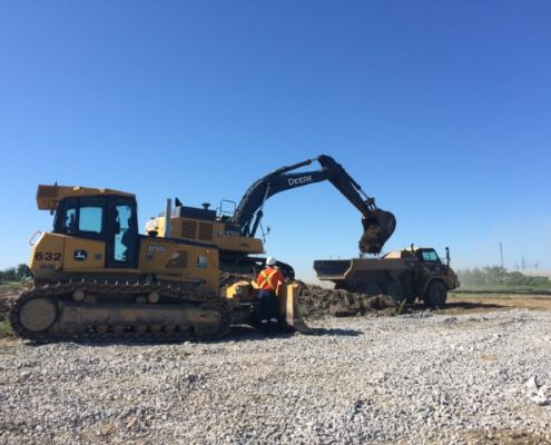 Machinery conducting stripping works.