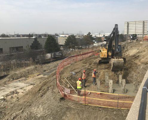concrete pouring operations for bridge construction at CN Rail