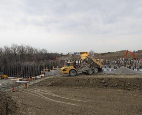 Bridge works on the southbound lane north side of Rainbow Creek
