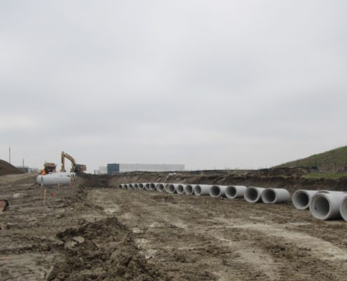 new pipes for watermain installation at Zenway Boulevard