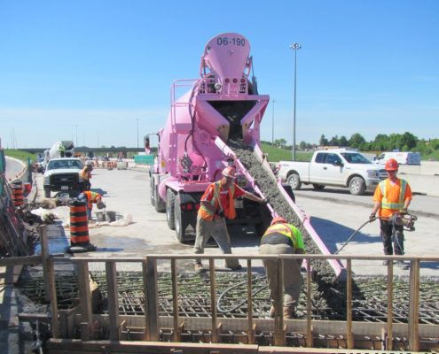 concrete pour in northbound lanes of Highway 427 in widening section