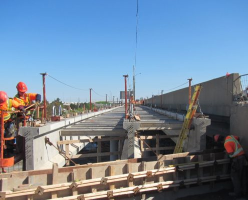 progress of bridge construction over CN Rail