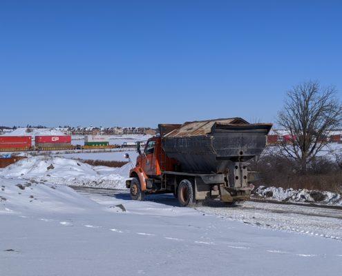 Photo of a sanding truck near McGillivray Road