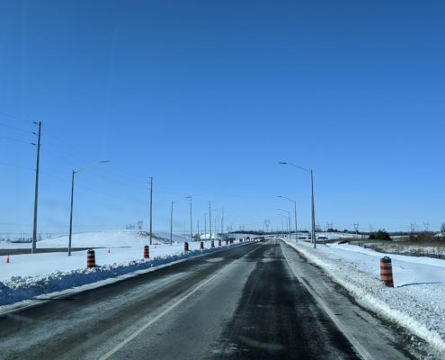 Photo showing the new alignment of Major Mackenzie Drive near the Highway 427 interchange