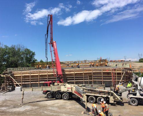 concrete pouring for bridge deck at Rainbow Creek