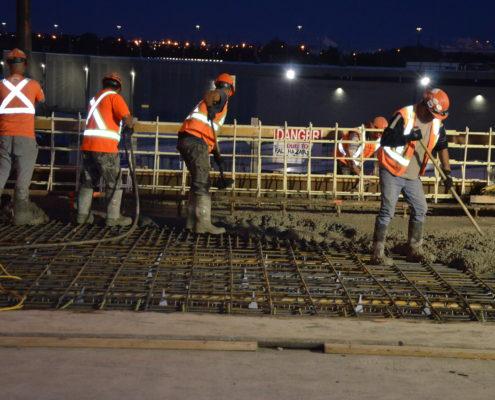 Pouring of concrete for CN Rail bridge