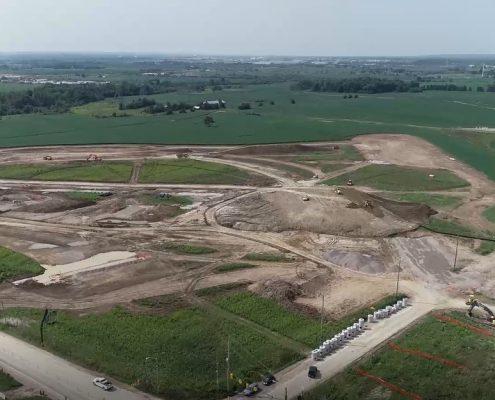 Aerial Photo at Major Mackenzie Dr and Huntington Rd