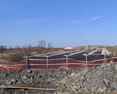 Photo showing newly installed girders at the southbound Highway 427 bridge over West Robinson Creek