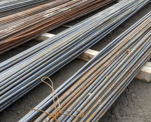 Photo of rebar stored near the Highway 427 bridge over the CP Rail tracks at McGillivray Road
