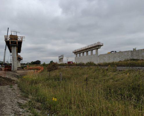 Bridge structure under construction at CP Rail tracks