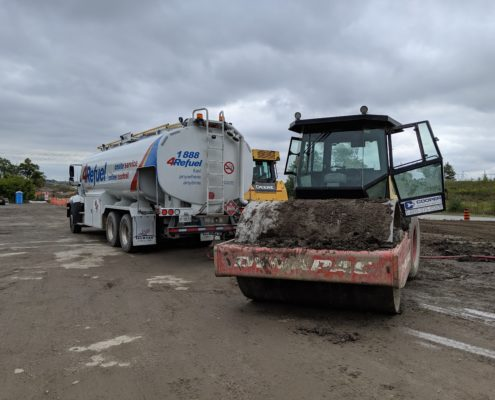Mobile equipment refueling truck near Major Mackenzie Drive