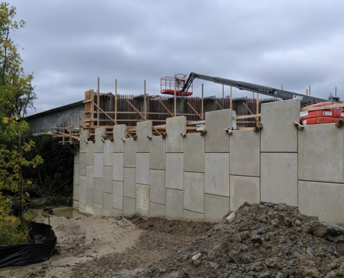 Newly installed RSS walls at the Rainbow Creek bridge structure