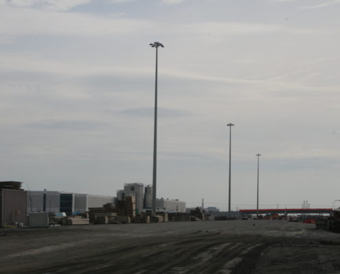 Photo of high-mast light poles installed between Zenway Boulevard and Langstaff Road