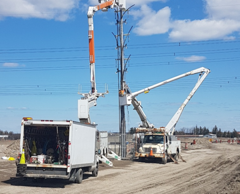 Photo of electrical utility work near Langstaff Road