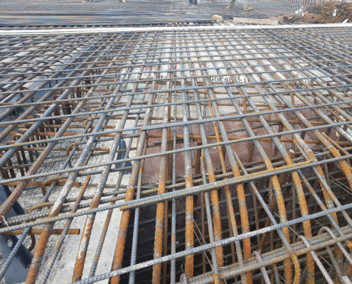 Photo of rebar in the deck of the West Robinson Creek bridge structure