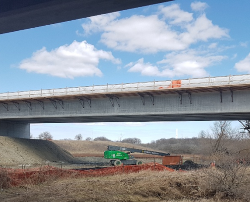 Photo of a side view from below the West Robinson Creek bridge structure