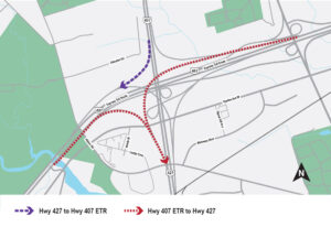 Map diagram showing the closure locations of the Highway 407 ETR Eastbound ramp to Highway 427 Southbound, the Highway 407 ETR Westbound ramp to Highway 427 Southbound, and the Highway 427 Southbound ramp to Highway 407 ETR Westbound