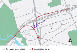 Map diagram showing the closure locations of the Highway 407 ETR Eastbound ramp to Highway 427 Southbound, the Highway 407 ETR Westbound ramp to Highway 427 Southbound, and the Highway 427 Southbound ramp to Highway 407 ETR Eastbound