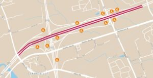 Map showing the approximate location of Highway 407 ETR lane closures in the eastbound and westbound directions in the vicinity of Highway 427