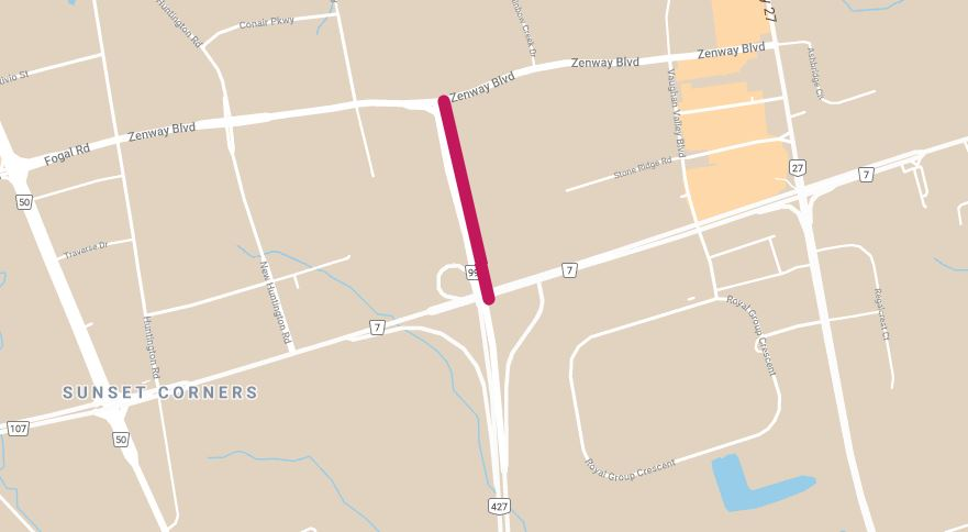 Map showing a full closure of Highway 427 northbound and southbound (legally referred to as York Regional Road 99) between Highway 7 and Zenway Boulevard