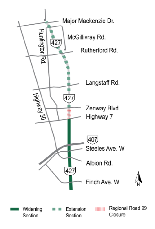 Clickable map of temporary traffic disruptions on the Highway 427 Expansion project, currently highlighting the permanent closure of York Regional Road 99