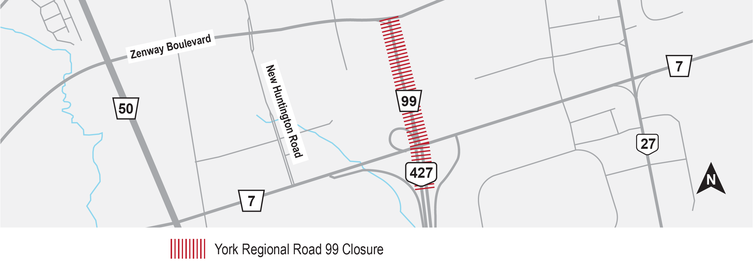 Map depicting location of permanent closure on Highway 427 (legally known as York Regional Road 99) between Highway 7 and Zenway Boulevard