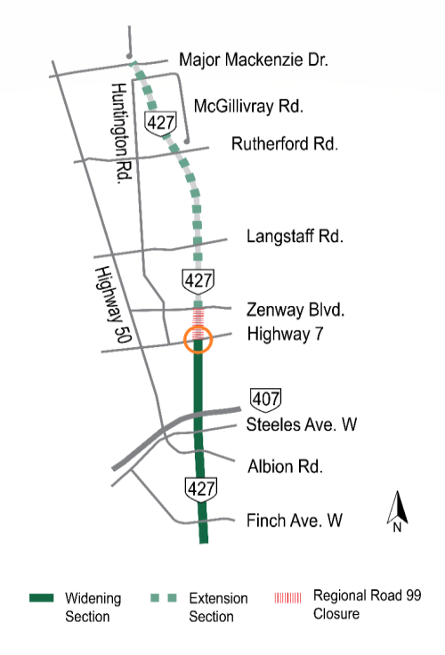 Clickable map of temporary traffic disruptions on the Highway 427 Expansion project, highlighting the weekend closure of the Highway 7 westbound on-ramp to Highway 427 southbound and the permanent closure of York Regional Road 99