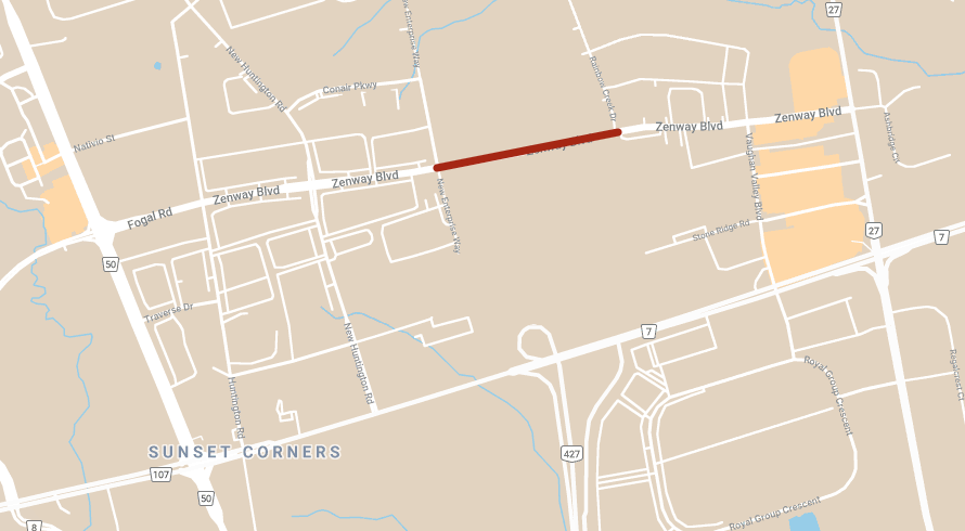 Map showing location of single-lane reductions on Zenway Boulevard eastbound and westbound between New Enterprise Way and Rainbow Creek Dr