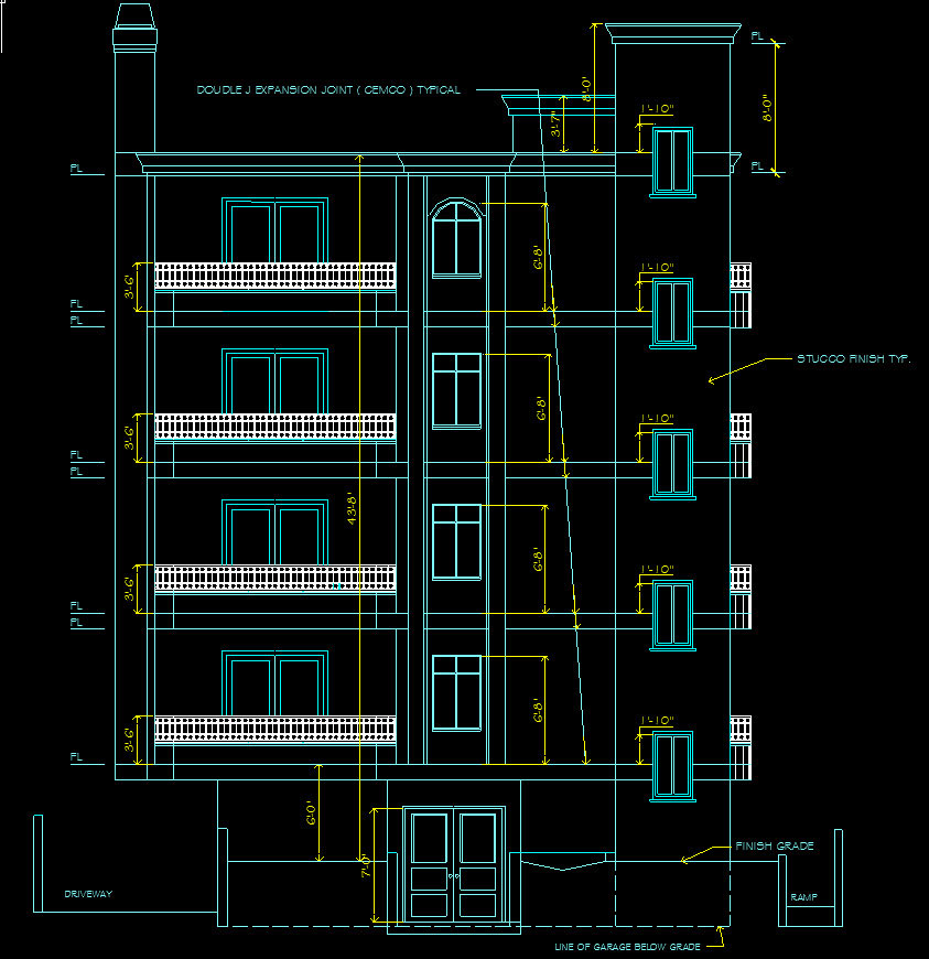 Four-Story Condominium Elevation Drawing