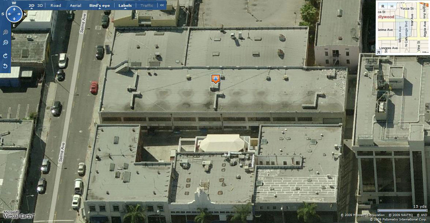 Selma Ave Hotel, Hollywood - aerial oblique - west