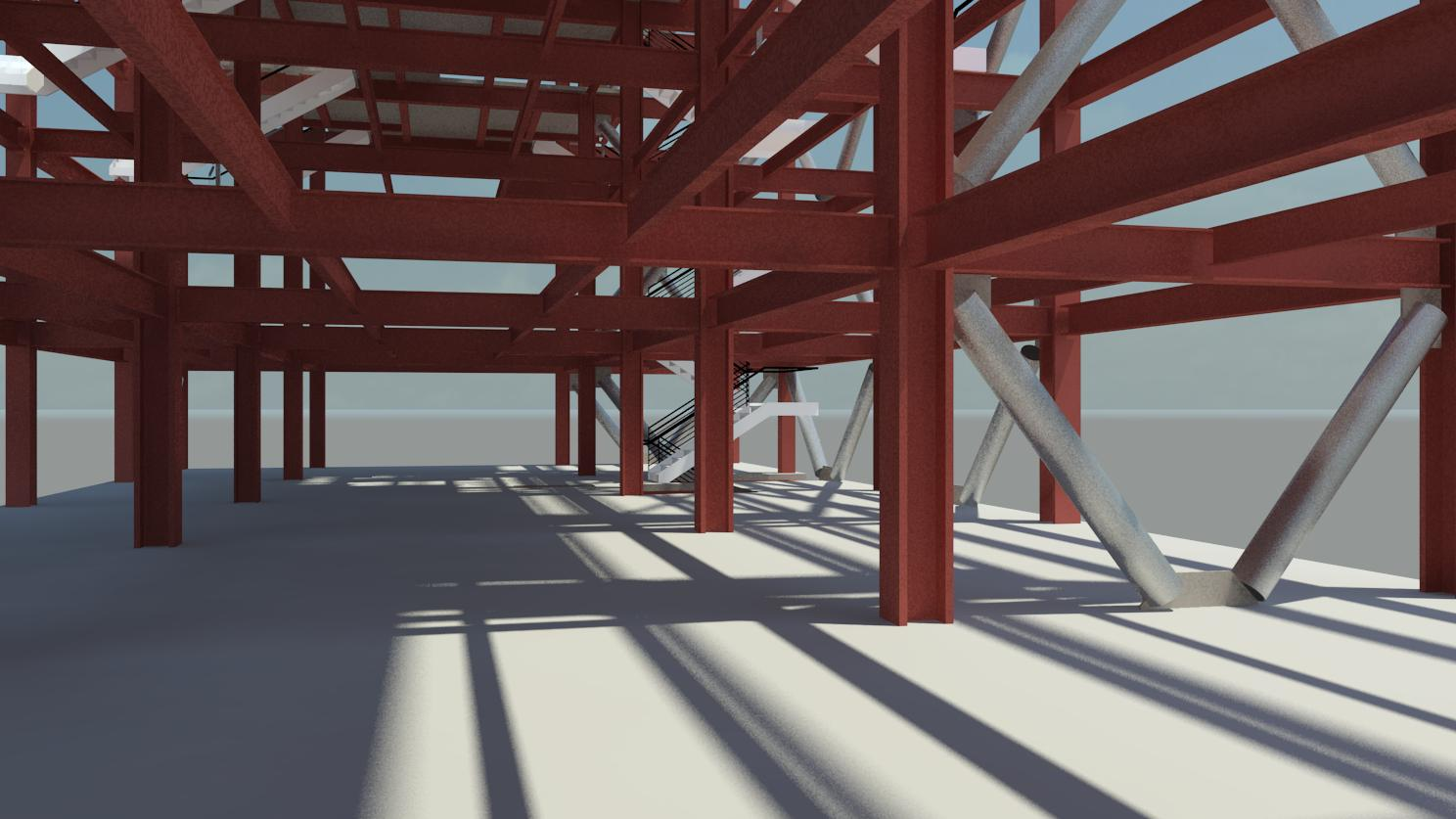 Selma Ave Hotel, Hollywood - Perspective - Open Steel Framing 6th Floor thru Helipad