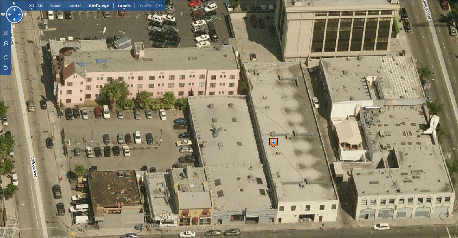 Selma Ave Hotel, Hollywood - aerial oblique - north