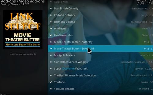 How to Install Movie Theater Butter Kodi Add-on Select link step 18