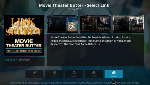 How to Install Movie Theater Butter Kodi Add-on Select link step 19