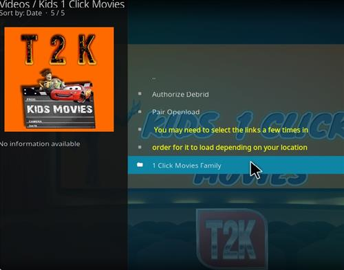 How to Install Kids1 Click Movies Kodi 18 Leia Add-on pic 2