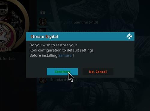 How to Install Samurai Kodi 18 Build Leia step 19