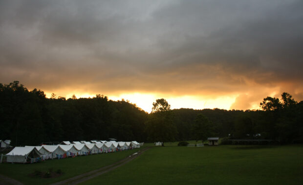 sunset at camp alleghany