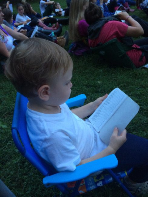 My two-year-old son Ellis can't read yet, but if he could, he'd read the Camp Songbook!